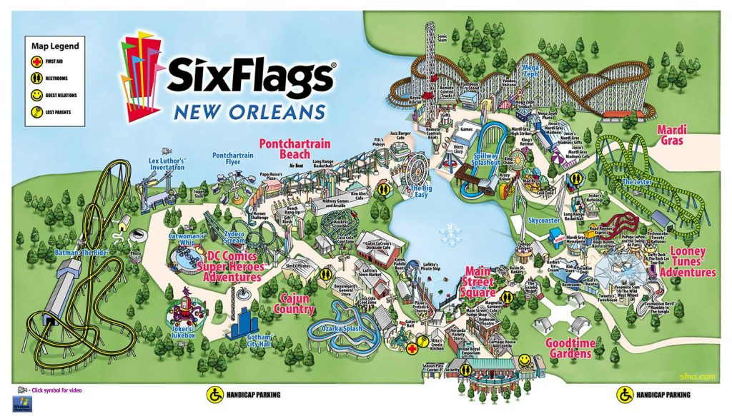 six flags New Orleans map