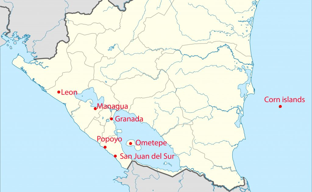 Travel route Nicaragua