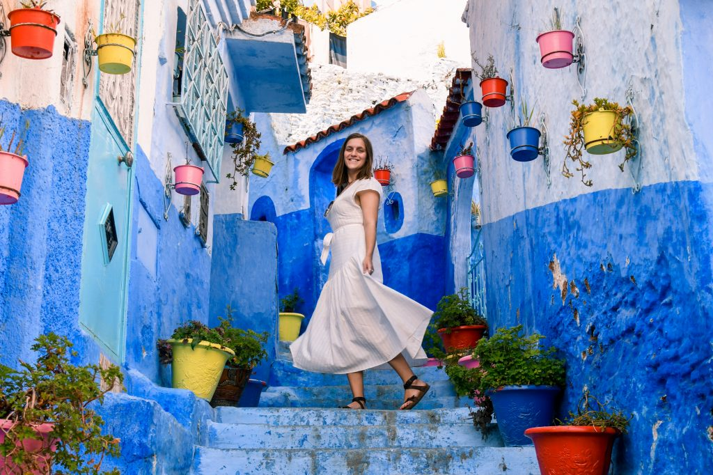 steps blue city Chefchaouen Morocco